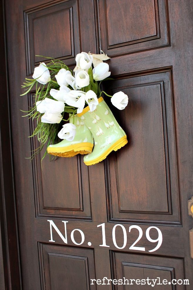 "Why not ... hang cute flower-filled rain boots on your front door as a spring ""wreath""?"