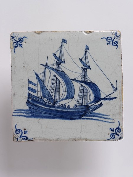 Wall tile, made Friesland?, Netherlands, 1650-1700, tin-glazed earthenware with painted decoration in blue, a  V C.570:1-1923