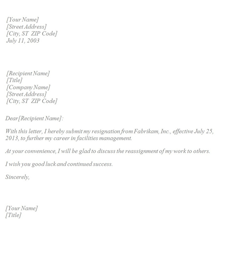 Resign Letters – Letter of Resignation Template