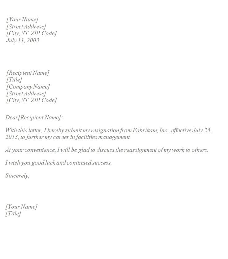 resignation letter template letter templates resignation letter
