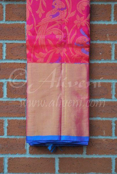 Pink Kuppadam Pure Pattu Saree with Parrots/Floral Pattern all over - Aliveni  - 1