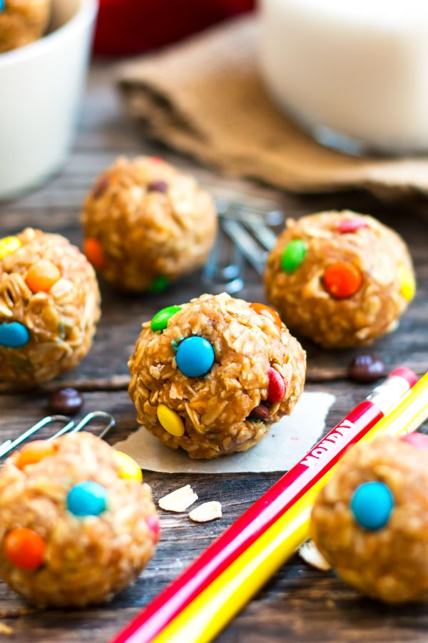 4-Ingredient Healthy Monster Cookie Bites   A recipe for healthy monster cookie…