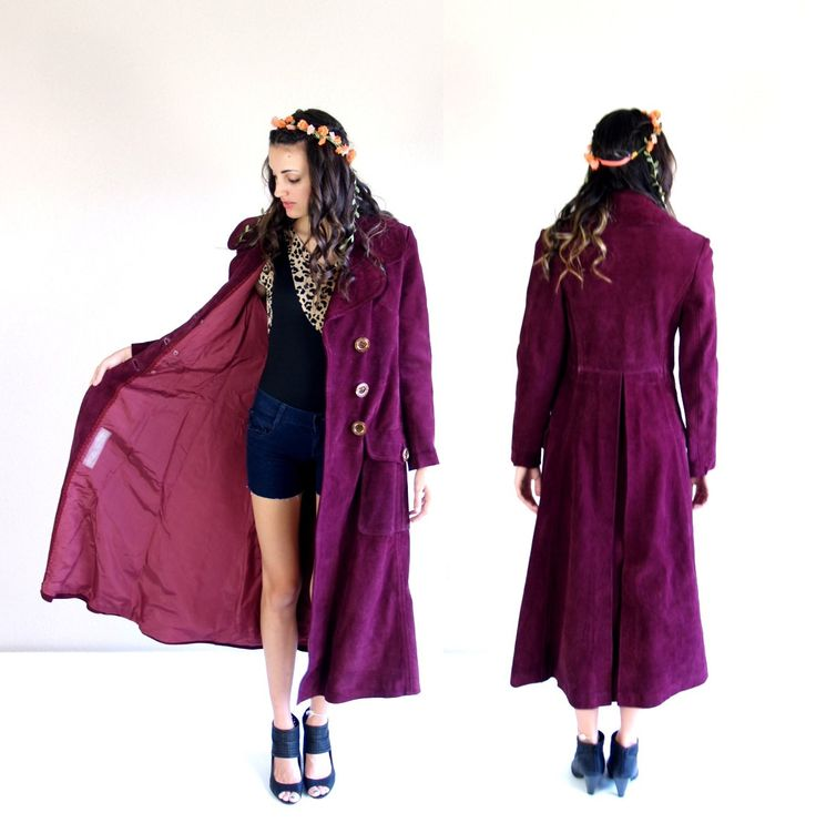 vtg 60s PLUM suede leather TRENCH COAT xs/s by TigerlilyFrocks