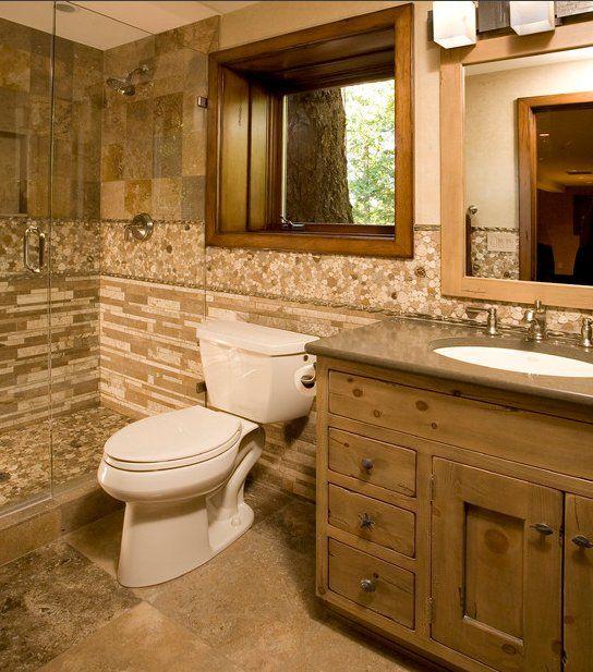Small bathroom bathroom pinterest cuarto de ba o y for Banos diseno rustico