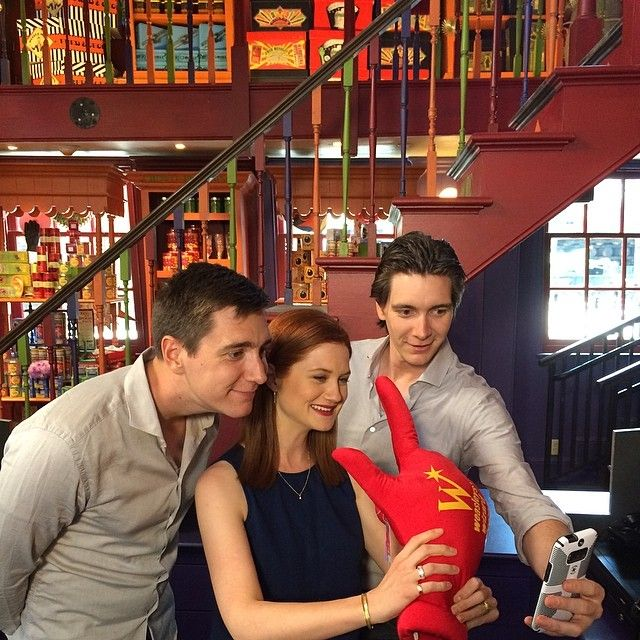 James & Oliver Phelps with Bonnie Wright in Orlando