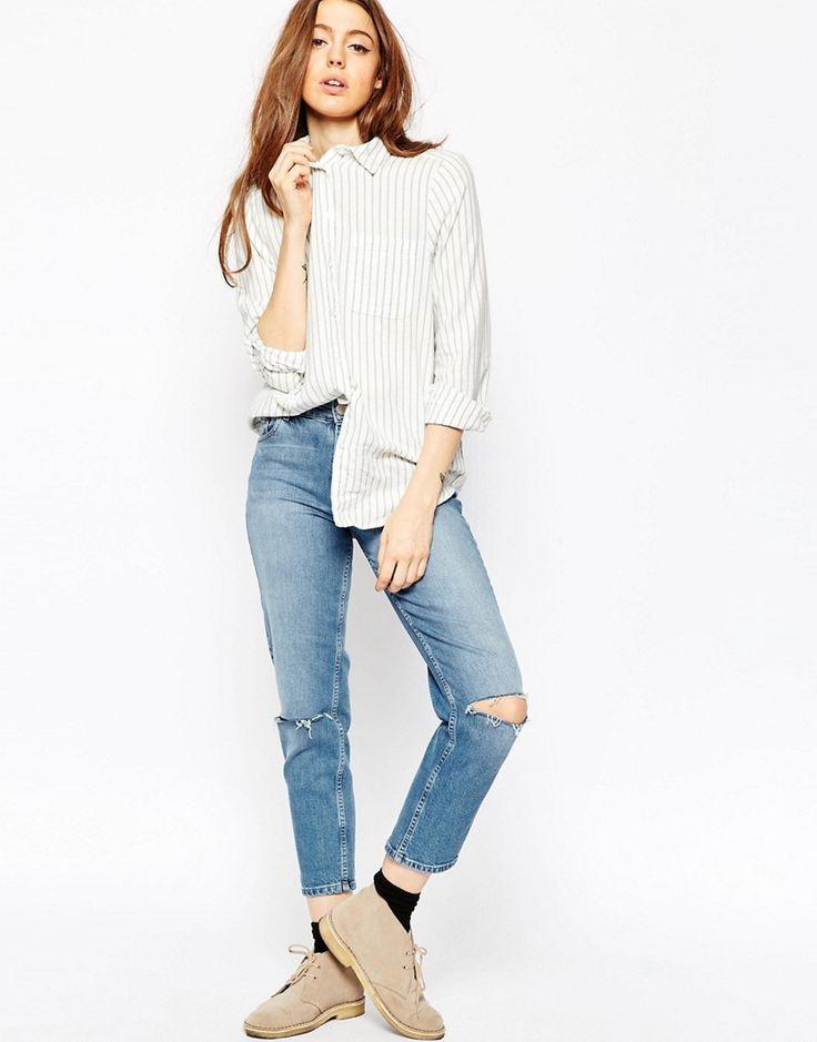 964 Изображение 4 из Рубашка бойфренда в полоску цвета хаки ASOS PETITE
