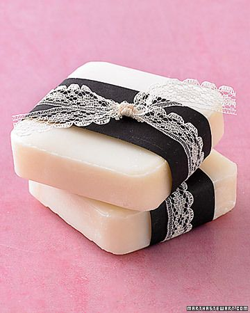 Soaps tied with pretty ribbon and lace. Soaps are easy to make, in a variety of shapes.