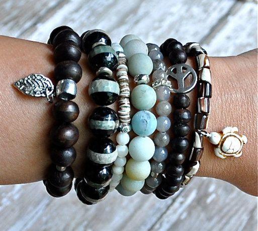 Stack of Natural Beaded Bracelets