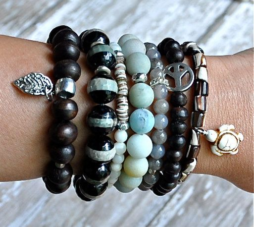 Stack of Natural Neutral Beaded Bracelets / Set of 4 by BeadRustic