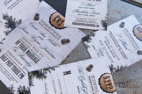 NEW Rustic, Burlap, Wood and Pine Cones Wedding Invitation set with Trees. Custom colors, font styles and wording... FREE