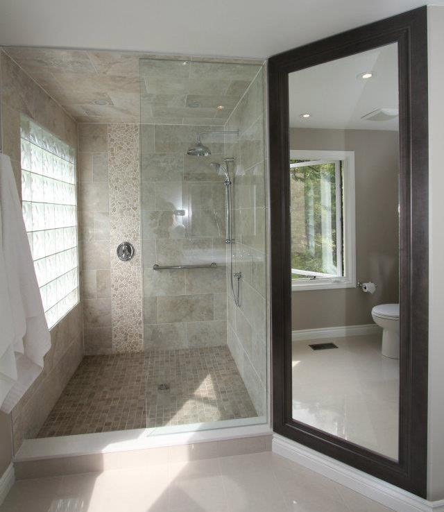 Walk in shower  river rock tiles  large bathroom shower145 best Shower Ideas images on Pinterest   Home  Room and  . Big Walk In Showers. Home Design Ideas