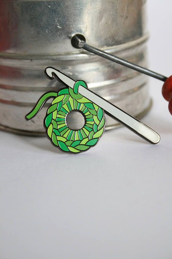 Crochet Pin Green: enamel pin pin badge enamel lapel pin