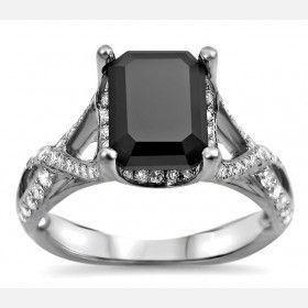 2.25CT Twist Style Emerald Cut Black Diamond Rhodium Plated Engagement Ring