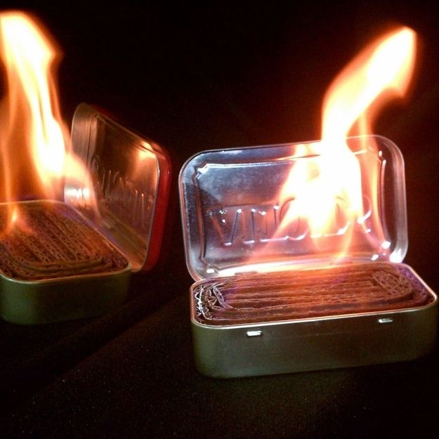 Make emergency light sources out of an Altoids tin, cardboard, and wax. | 41 Camping Hacks That Are Borderline Genius