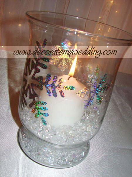 Winter wonderland centerpieces snowflake wedding