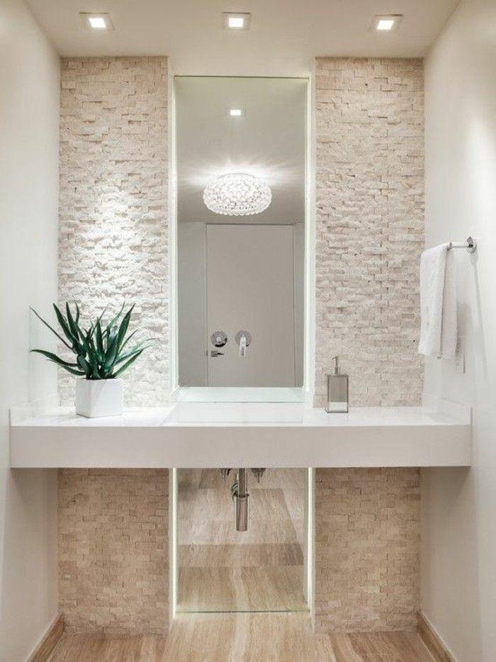 comment decorer les murs dans la salle de bain avec parement de pierre