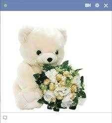Emoticon bonito urso de pelúcia segurando buquê de flores