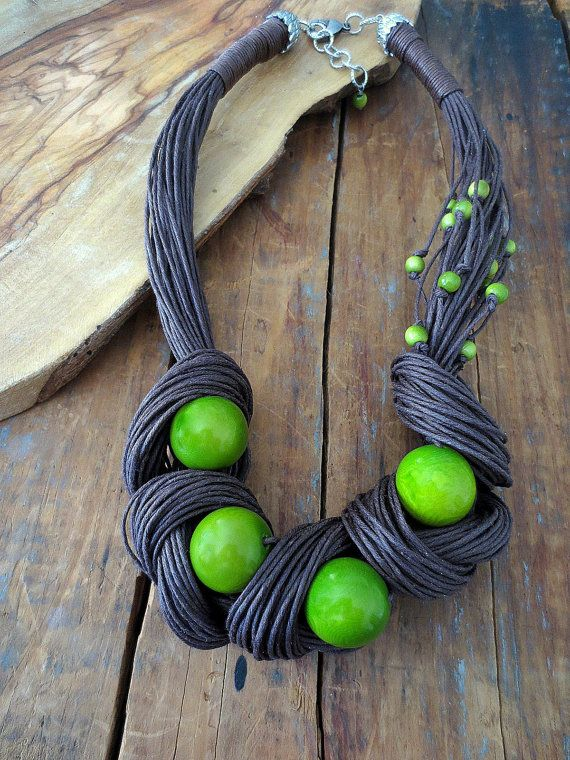 Tagua Nut Statement Necklace, Linen Necklace, Light Green Tagua Nut Beads, Linen…
