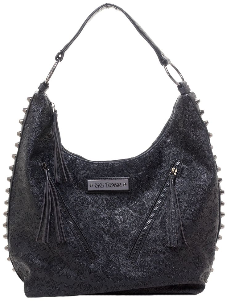 GG ROSE SUGAR SKULL HOBO PURSE BLK