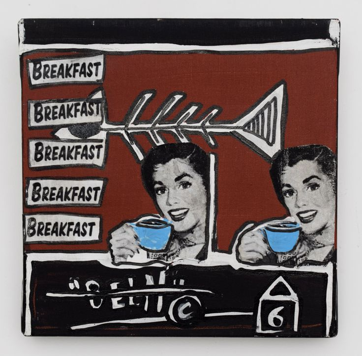 "Original art ~ ""Breakfast in America"" by Yvan Montuelle ~ collage and acrylic on canvas ~ 10"" x 10"" ~ one of a kind by YvanArt on Etsy"