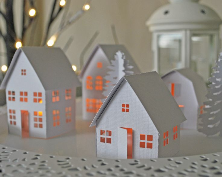 Tealight Village Silhouette Cameo Christmas Project                                                                                                                                                                                 More