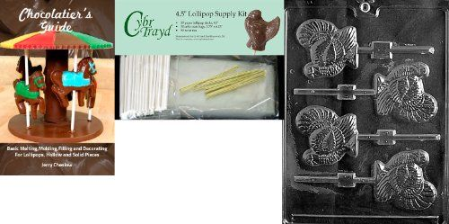 Cybrtrayd 45StK50TT010 Turkey Lolly Thanksgiving Chocolate Mold with Chocolate Packaging Kit Includes 50 Cello Bags 50 Gold Twist Ties and Chocolate Molding Instructions * You can find out more details at the link of the image. (This is an affiliate link) #CandyMakingAccessories
