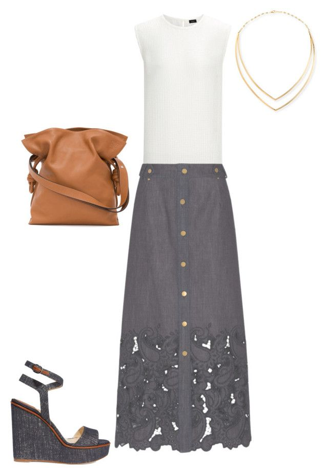 """SS - D - SKIRT, TOP, SANDALS - DENIM, WHITE, SADDLE"" by laliquemurano on Polyvore featuring Alberta Ferretti, Paul Andrew, Loewe and Lana"
