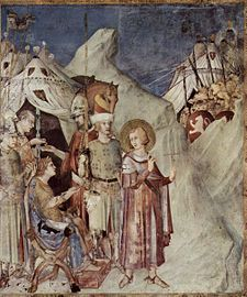 St Martin of Tours. St Martin leaves the life of chivalry and renounces the army (fresco by Simone Martini)