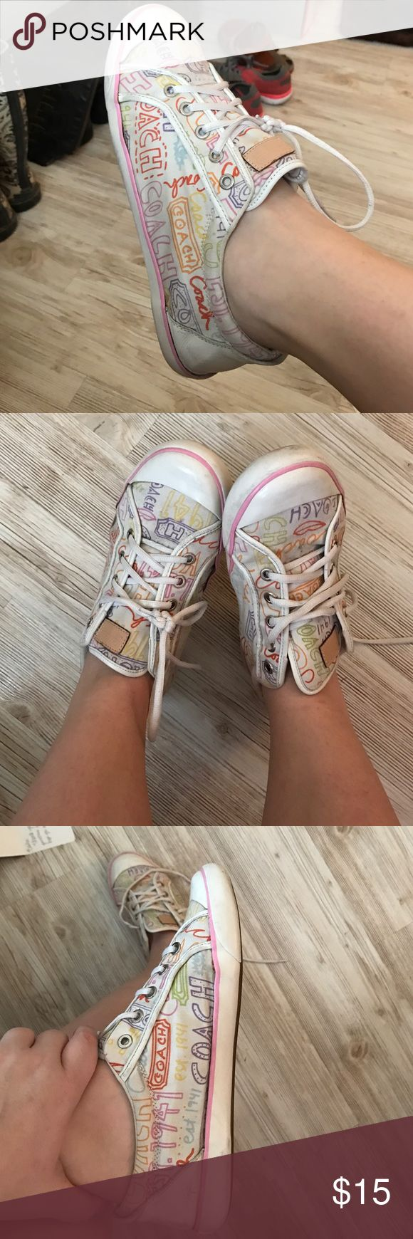 Authentic coach tennis shoes White coach tennis shoes they are a little dirty but nothing I'm sure a quick wash won't fix!! They do have a little wear but they still have a lot of life left!! Coach Shoes Sneakers