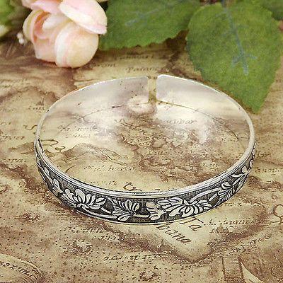 Vintage Women Tibetan Silver Carved flower Cuff bangles Bohemian Bracelets 1pcs