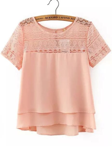 Pink Lace Short Sleeve Loose Chiffon Blouse