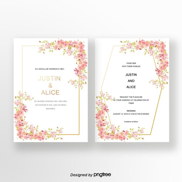 Pink Flower Cluster Positive And Negative Wedding Invitation Card Wedding Invitation Cards Wedding Invitation Card Template Christian Wedding Cards