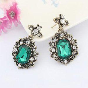 Kolczyki Vintage Green Crystal 04