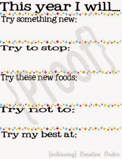 Achieving Creative Order: New Year's Resolutions {for kids} Printable