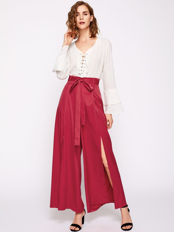 Shop Tie Waist Split Palazzo Pants online. SheIn offers Tie Waist Split Palazzo Pants & more to fit your fashionable needs.