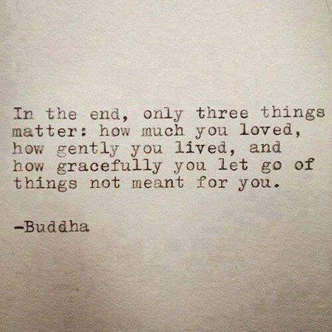 In the end only three things matter ~ How much you loved, how gently you lived, and how gracefully you let go of things not meant for you.