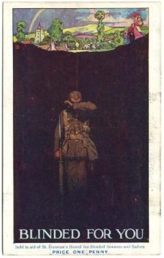 """This postcard, titled """"Blinded for You,"""" was sold during the First World War to rise funds for Blind Veterans UK. #BlindVeteransUK #FirstWorldWar #PaintedPostcards #Postcards"""