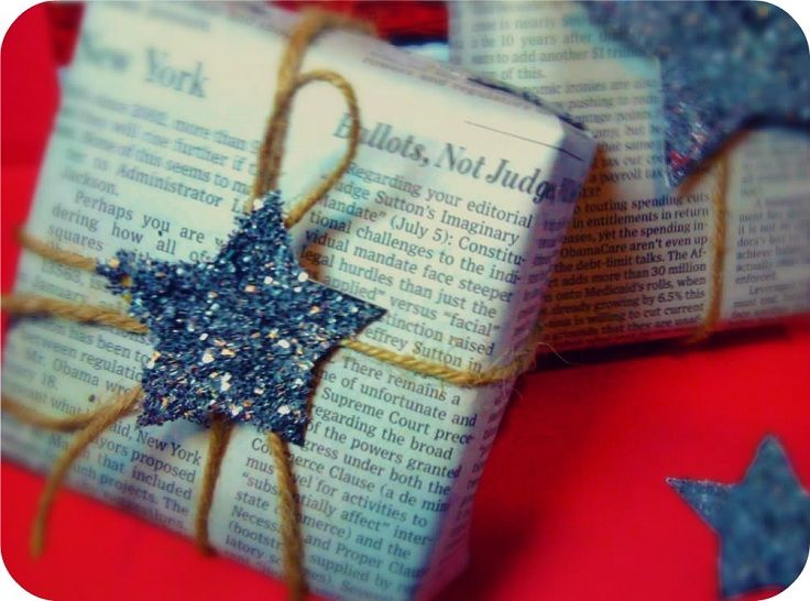 newspaper + sparkle + twine = gorgeous wrapping-paper