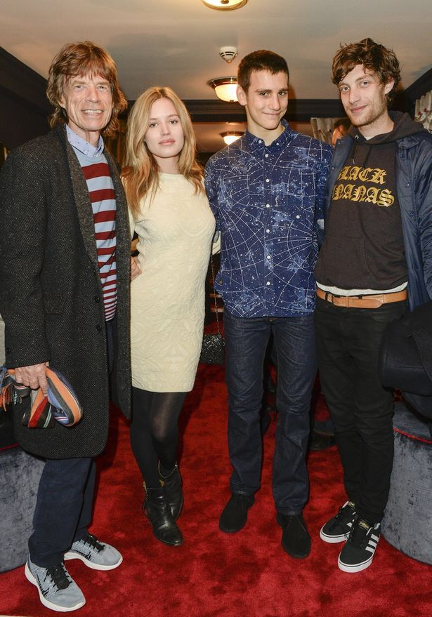 Georgia-May Jagger,with her father, Mick Jagger, and her brothers Gabriel and James.