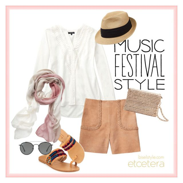 """Oxygen white blouse and Braids tan suede shorts - Etcetera Spring '17"" by biseletcetera ❤ liked on Polyvore featuring Elina Lebessi and Ray-Ban"