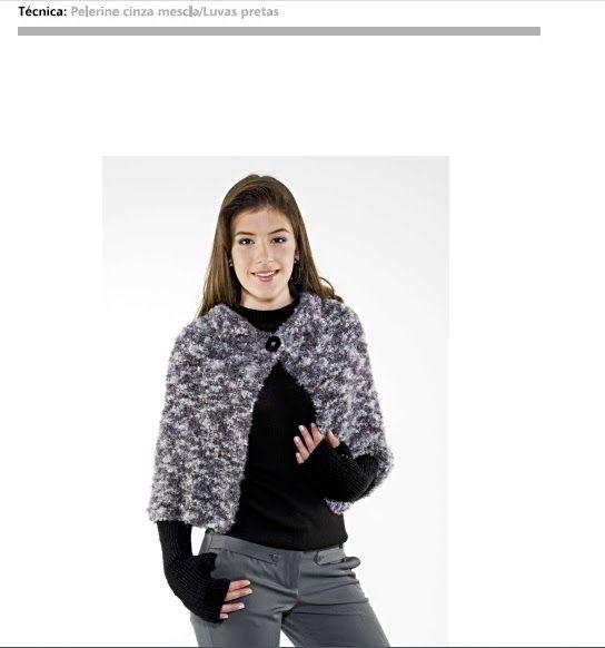 Pelerine cinza mescla e luvas de tricô com linhas Cisne  fonte e imagem  coatscrafts. 5d333b67cf8
