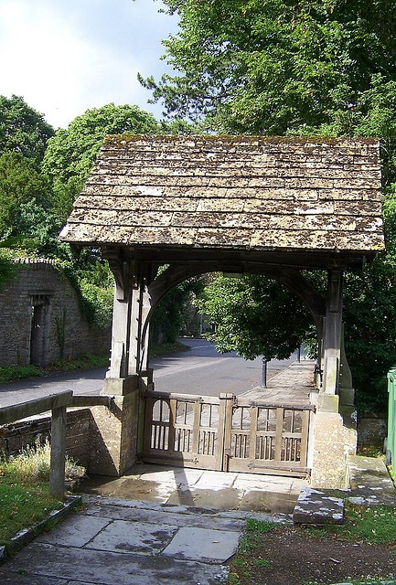 The Lych Gate-St Mary's Church Langport, Somerset. The Lych Gate – a place to rest a heavy coffin on the way into the church sometimes to wait for the mourners to catch up.