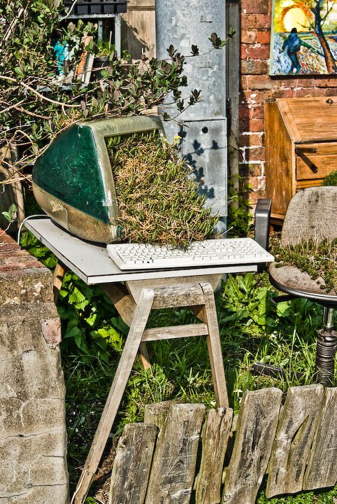 --trash to garden--: Gardens Ideas, Old Things, Haha Too Funny, Gardens Things, Old Computers, Dinosaurs, Planters