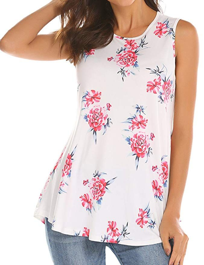 645ce91b5d0 Tobrief Women Sleeveless Floral Print Swing Tunic Tank Tops at ...