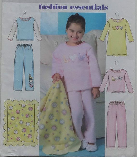 2004 Girls' Sleepwear Pattern Choice 2-8 Butterick 4339 OOP #Butterick