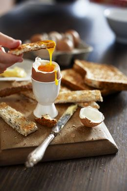 Soft boiled egg & toast soldiers.  http://www.annabelchaffer.com/categories/Dining-Accessories/