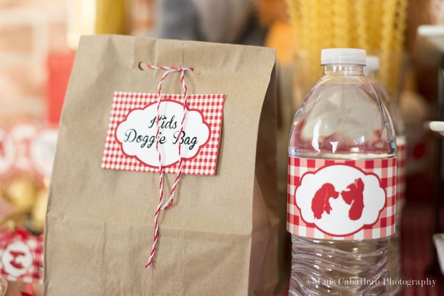 """Kids """"Doggie Bag"""" favor bags for Lady and the at Tramp party."""