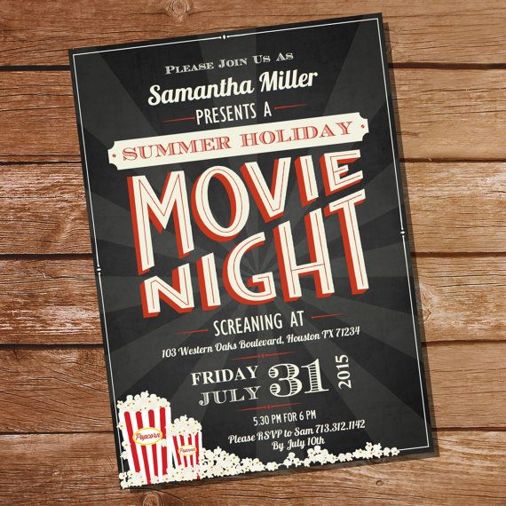 Chalkboard Movie Night Party Invitation  Movie by SunshineParties