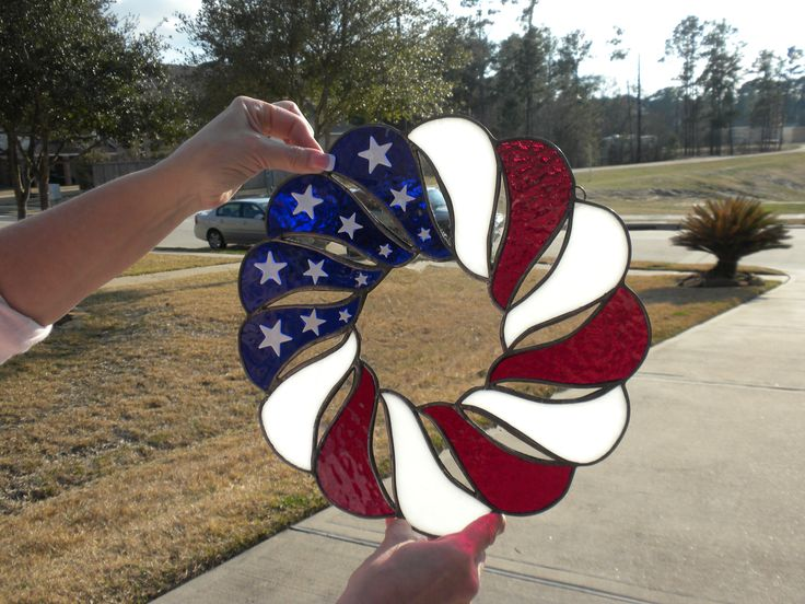 Patriotic Stained Glass Wreath