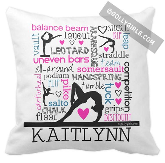 Golly Girls: Words of Gymnastics Personalized Typography Throw